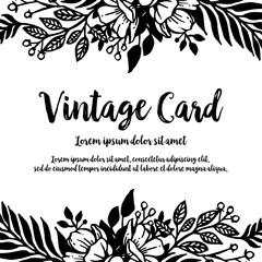 Vintage card with flower design hand draw vector illustration