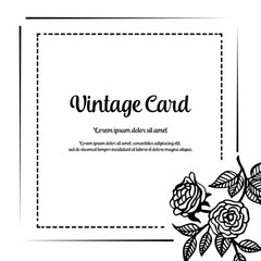 Vintage card with flower design hand draw vector illustration