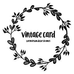 Vintage card hand draw with floral design vector illustration