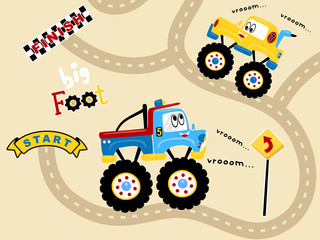Vector illustration of truck racing cartoon