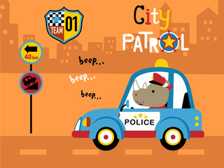 Vector illustration of funny police patrol cartoon