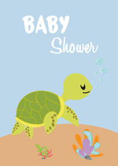 baby shower card with turtle.