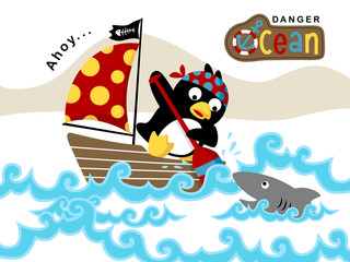 Vector illustration of funny sailor cartoon on sailboat with shark