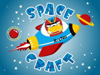 Vector illustration of funny animal cartoon on spacecraft