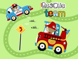 Vector illustration of rescue team cartoon