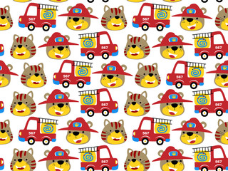 seamless pattern vector with firefighter cartoon and animals head