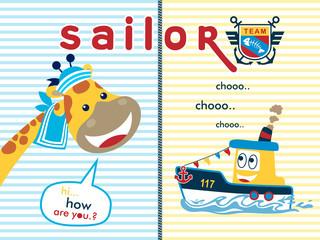 Vector illustration of Giraffe and little boat cartoon