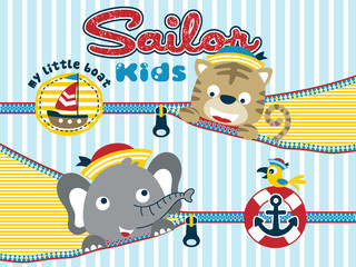 Animals sailor cartoon with zipper on striped background