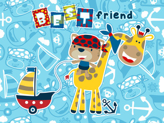 Giraffe and cat cartoon on seamless pattern sailing equipment background