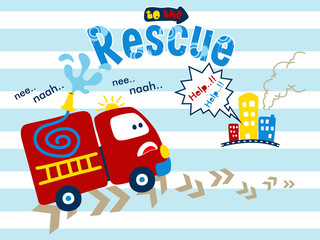 Vector illustration of funny fire truck cartoon