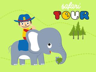 vector cartoon of safari tour