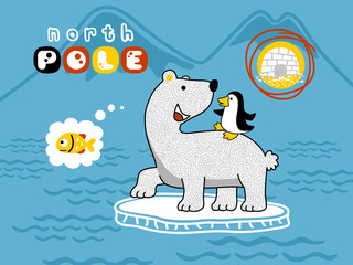 vector cartoon of cute north pole animals