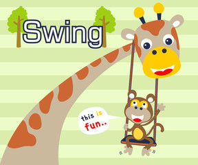 Vector illustration of giraffe and monkey cartoon