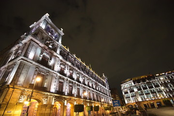 Mexico city, central plaza and Zocalo streets at night