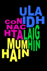 Provinces of Ireland Wordle Word Cloud Irish Neon