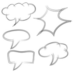 Set of Doodle Blank Bubble Chat and Various Shape, four Lines