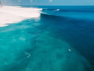Aerial shooting of big wave surfing. Big waves in ocean