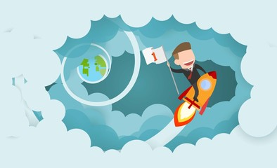 Businessman riding a rocket and smoke through cloud Business startup concept. vector illustration. flat design.