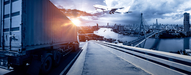 Wall Mural - Business Logistics and transportation concept, of Container Cargo train and truck for Logistic import export and transport industry background