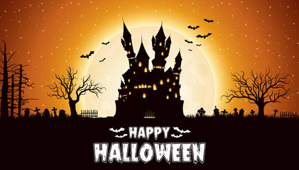 Halloween night background with castle