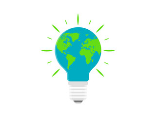 Bulb Design With Earth Map Eco Friendly Electricity Vector Icon