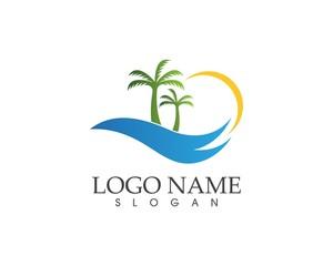 Wave beach holidays logo vector illustration