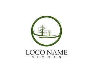 Nature tree road logo vector illustration