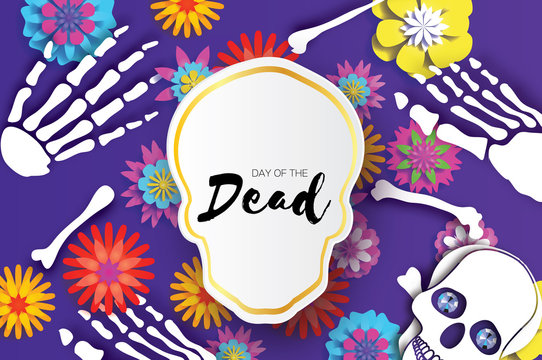 Day of the dead. Paper cut skull for mexican celebration. Traditional mexico skeleton. Blue Diamond eyes. Dia de muertos on purple. Origami cempasuchil flowers. Bones.