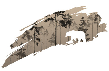 Wall Mural - a fragment of the background with a forest and a bear for your design. Vector illustration
