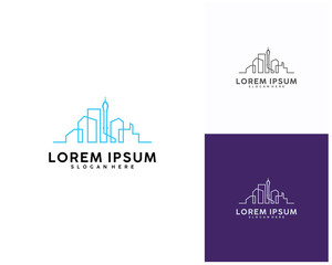 Modern line art City logo template