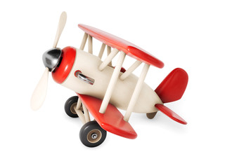 Wooden airplane isolated on white background. 3d rendering illustration