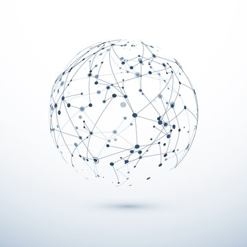 Global network icon. Abstract structure of worldwide web. Sphere with nodes and connections. Vector illustration