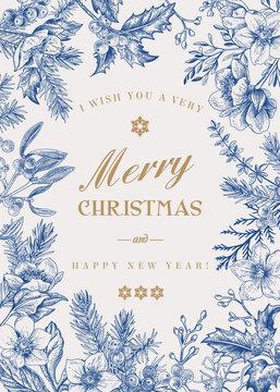 Christmas botanical card.