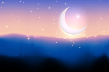 Illustration Ramadan Kareem. Greeting card with big moon, stars, night mountains. Graphic concept for your design