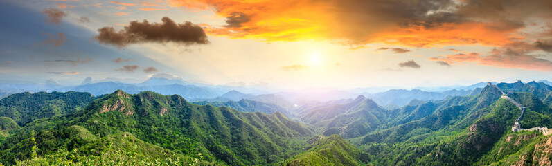 Majestic Great Wall of China at sunset,panoramic view Wall mural