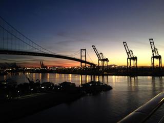 Entering Los Angeles terminal Island via cruise ship, USA.