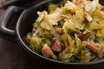 Stew of white cabbage and bacon