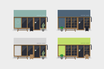 Set of modern coffee shop or cafe front view.