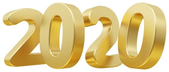 2020 bold letters 3d-illustration