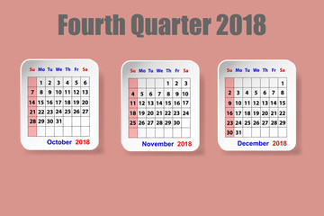 Calendar for fourth quarter of 2018 year on the red ocher color background