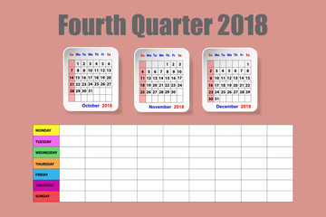 Calendar for the fourth quarter of 2018 year on the red ocher color background with weekly planner on the lower half of the vector