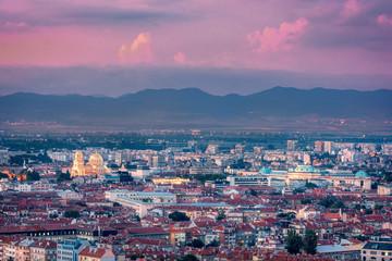 Beautiful aerial view over Sofia, the capital of Bulgaria