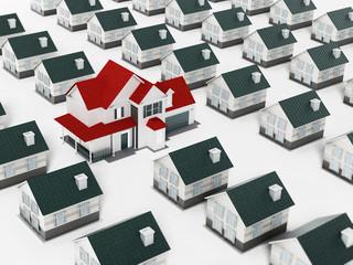 Luxury estate standing out against many regular houses. 3D illustration