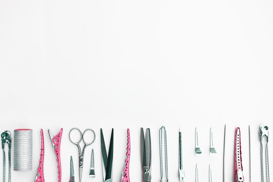 Set of professional hairdresser tools isolated on white background