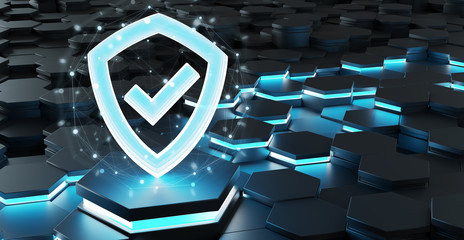 Black blue shield icon on hexagons background 3D rendering
