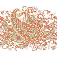 Paisley Damask ornament. Isolated Vector illustration