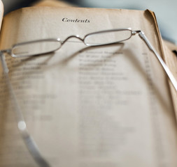 Table Of Contents With Reading Glasses