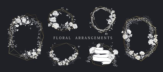Floral bouquet design. Wedding arrangement. Botanical frame. Hand drawn flowers.
