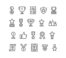 Simple Set of Trophy Awards Related Vector Line Icons. Editable Stroke. 48x48 Pixel Perfect.