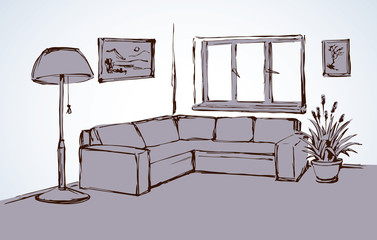 Corner sofa. Vector drawing